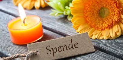 Spendenbild Blume und brennende Kerze